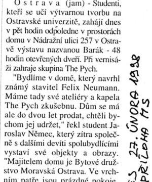 Macháček Jiří: Studenti vystaví v domě svoje díla, in MF Dnes, 27. 2. 1998