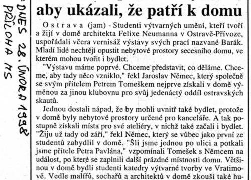Macháček Jiří: Studenti uspořádali výstavu, aby ukázali, že patří k domu, in MF Dnes, 28. 2. 1998