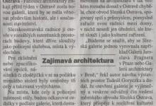 """Broulík, Petr: Výtvarník kvůli """"baráku"""" pátrá po díle architekta, in MF Dnes Regionální mutace - severni Morava a Slezsko, 3. 4. 2008"""