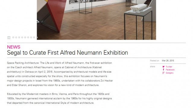 architecture.mit.edu: Segal to Curate First Alfred Neumann Exhibition