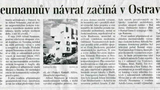 Lidové noviny: Neumannův návrat začíná v Ostravě